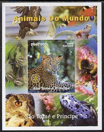 St Thomas & Prince Islands 2005 Animals of the World - Leopard imperf s/sheet with Rotary Logo unmounted mint