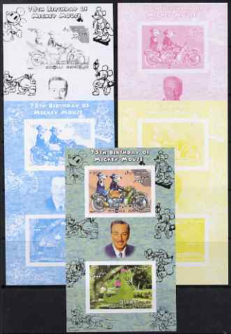 Somalia 2004 75th Birthday of Mickey Mouse #21 - Motorcycle & Dragon sheetlet containing 2 values plus  the set of 5 imperf progressive proofs comprising the 4 individual colours plus all 4-colour composite, unmounted mint