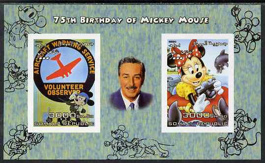 Somalia 2004 75th Birthday of Mickey Mouse #24 - Volunteer Observer & Photographer imperf sheetlet containing 2 values plus label, unmounted mint