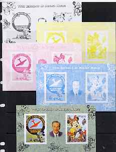 Somalia 2004 75th Birthday of Mickey Mouse #24 - Volunteer Observer & Photographer sheetlet containing 2 values plus  the set of 5 imperf progressive proofs comprising the 4 individual colours plus all 4-colour composite, unmounted mint