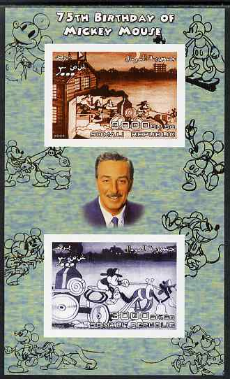 Somalia 2004 75th Birthday of Mickey Mouse #22 - Fire Station imperf sheetlet containing 2 values plus label, unmounted mint
