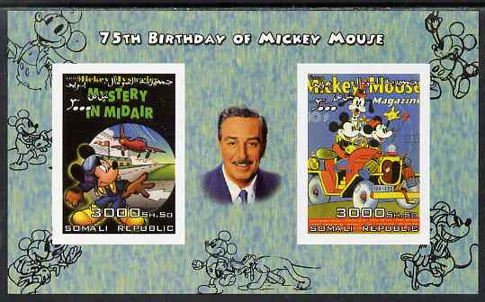 Somalia 2004 75th Birthday of Mickey Mouse #23 - Magazine covers imperf sheetlet containing 2 values plus label, unmounted mint