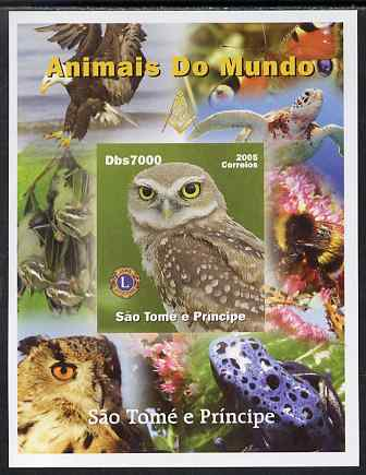 St Thomas & Prince Islands 2005 Animals of the World - Owl imperf s/sheet with Lions International Logo unmounted mint