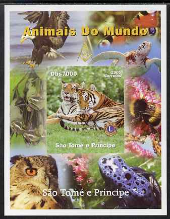 St Thomas & Prince Islands 2005 Animals of the World - Tigers imperf s/sheet with Lions International Logo unmounted mint