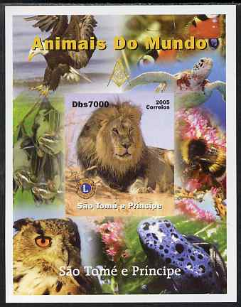 St Thomas & Prince Islands 2005 Animals of the World - Lion imperf s/sheet with Lions International Logo unmounted mint