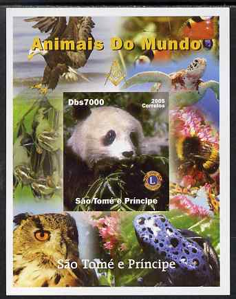 St Thomas & Prince Islands 2005 Animals of the World - Panda imperf s/sheet with Lions International Logo unmounted mint. Note this item is privately produced and is offered purely on its thematic appeal, stamps on , stamps on  stamps on animals, stamps on  stamps on panda, stamps on  stamps on bears, stamps on  stamps on lions int, stamps on  stamps on turtles, stamps on  stamps on birds, stamps on  stamps on birds of prey, stamps on  stamps on bees, stamps on  stamps on eagles, stamps on  stamps on owls, stamps on  stamps on frogs, stamps on  stamps on butterflies, stamps on  stamps on bats, stamps on  stamps on mammal
