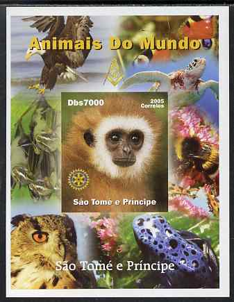 St Thomas & Prince Islands 2005 Animals of the World - Monkey imperf s/sheet with Rotary Logo unmounted mint. Note this item is privately produced and is offered purely on its thematic appeal