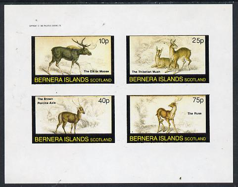 Bernera 1982 Animals (Elk, Axis etc) imperf  set of 4 values (10p to 75p) unmounted mint