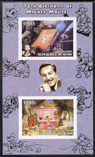 Benin 2004 75th Birthday of Mickey Mouse - Pinocchio & Jazz Band imperf sheetlet containing 2 values plus label, unmounted mint