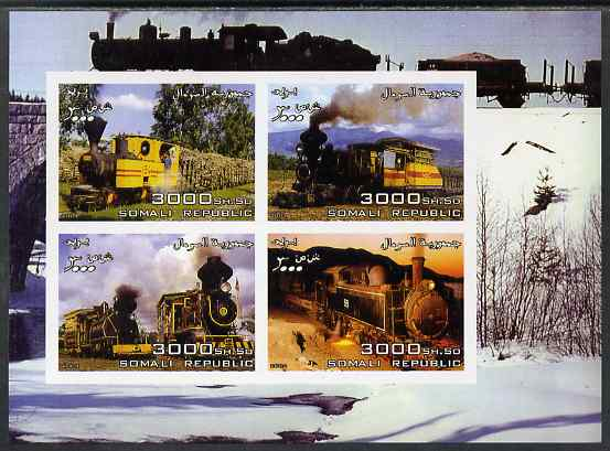 Somalia 2004 Steam Locos imperf sheetlet containing 4 values  unmounted mint. Note this item is privately produced and is offered purely on its thematic appeal