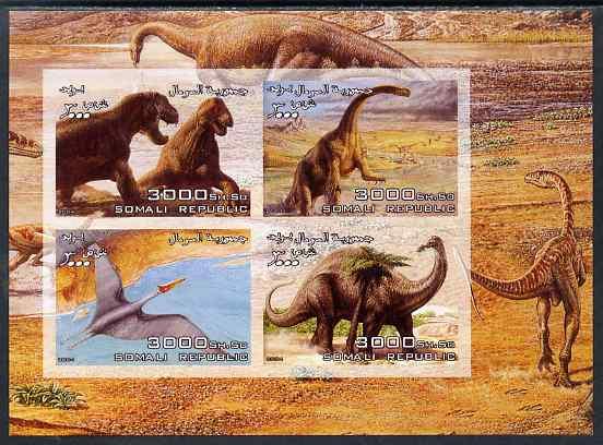 Somalia 2004 Dinosaurs imperf sheetlet containing 4 values unmounted mint
