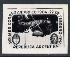 Argentine Republic 1947 43rd Anniversary of Antarctic Mail black and white photographic essay of 5c stamp (stamp size) similar to issued stamp but in horizontal format