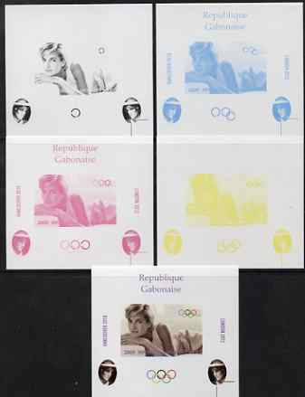 Gabon 2009 Olympic Games - Princess Diana #04 individual deluxe sheet - the set of 5 imperf progressive proofs comprising the 4 individual colours plus all 4-colour composite, unmounted mint