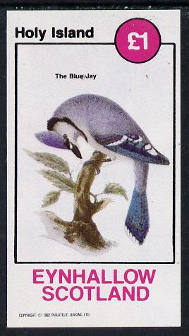Eynhallow 1982 Blue Jay imperf souvenir sheet (�1 value) unmounted mint