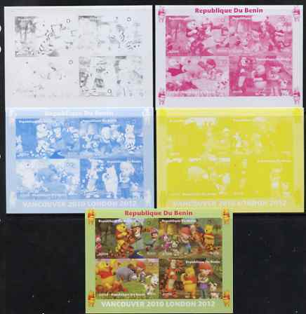 Benin 2009 Olympic Games - Disney's Winnie the Pooh #01 sheetlet containing 4 values - the set of 5 imperf progressive proofs comprising the 4 individual colours plus all 4-colour composite, unmounted mint