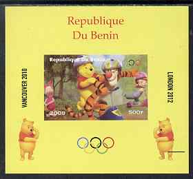 Benin 2009 Olympic Games - Disney's Winnie the Pooh #01 individual imperf deluxe sheet unmounted mint. Note this item is privately produced and is offered purely on its thematic appeal