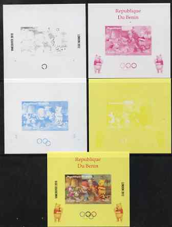 Benin 2009 Olympic Games - Disney's Winnie the Pooh #02 individual deluxe sheet - the set of 5 imperf progressive proofs comprising the 4 individual colours plus all 4-colour composite, unmounted mint
