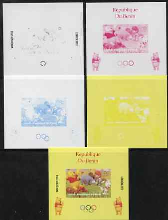 Benin 2009 Olympic Games - Disney's Winnie the Pooh #03 individual deluxe sheet - the set of 5 imperf progressive proofs comprising the 4 individual colours plus all 4-colour composite, unmounted mint