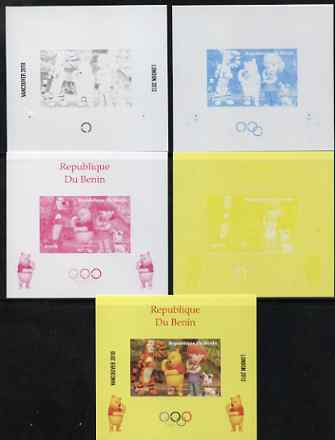 Benin 2009 Olympic Games - Disney's Winnie the Pooh #04 individual deluxe sheet - the set of 5 imperf progressive proofs comprising the 4 individual colours plus all 4-colour composite, unmounted mint