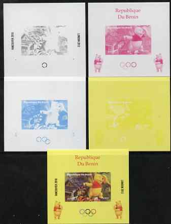 Benin 2009 Olympic Games - Disney's Winnie the Pooh #05 individual deluxe sheet - the set of 5 imperf progressive proofs comprising the 4 individual colours plus all 4-colour composite, unmounted mint