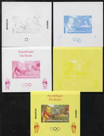 Benin 2009 Olympic Games - Disney's Winnie the Pooh #07 individual deluxe sheet - the set of 5 imperf progressive proofs comprising the 4 individual colours plus all 4-colour composite, unmounted mint