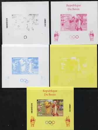 Benin 2009 Olympic Games - Disney's Winnie the Pooh #08 individual deluxe sheet - the set of 5 imperf progressive proofs comprising the 4 individual colours plus all 4-colour composite, unmounted mint