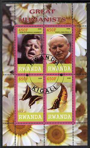 Rwanda 2009 Great Humanist #2 - Kennedy & Pope John Paul plus Butterflies perf sheetlet containing 4 values cto used