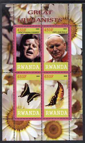 Rwanda 2009 Great Humanist #2 - Kennedy & Pope John Paul plus Butterflies perf sheetlet containing 4 values unmounted mint