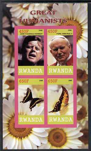 Rwanda 2009 Great Humanist #2 - Kennedy & Pope John Paul plus Butterflies imperf sheetlet containing 4 values unmounted mint , stamps on personalities, stamps on kennedy, stamps on pope, stamps on religion, stamps on popes, stamps on usa presidents, stamps on americana, stamps on butterflies