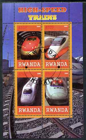 Rwanda 2009 High Speed Trains #1 perf sheetlet containing 4 values cto used