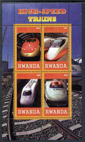 Rwanda 2009 High Speed Trains #1 perf sheetlet containing 4 values unmounted mint