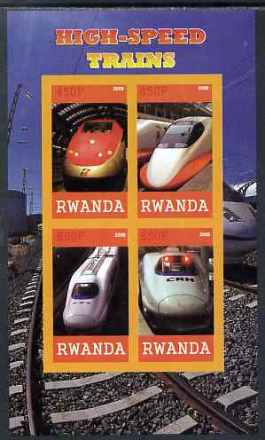 Rwanda 2009 High Speed Trains #1 imperf sheetlet containing 4 values unmounted mint