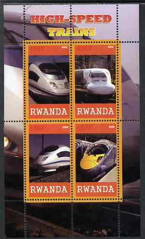 Rwanda 2009 High Speed Trains #2 perf sheetlet containing 4 values unmounted mint