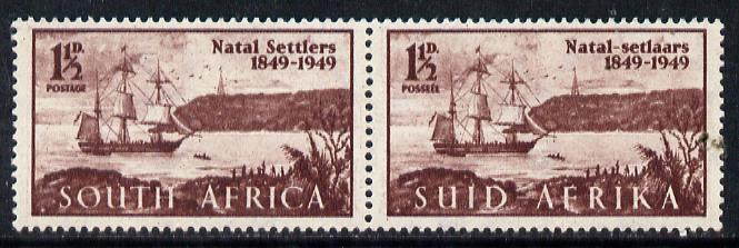 South Africa 1949 Arrival of British Settlers to Natal se-tenant bi-lingual pair unmounted mint, SG 127