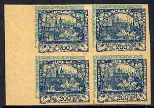 Czechoslovakia 1918 Hradcany 200h imperf proof block of 4 in blue doubly printed with 20h in turquoise, on ungummed buff paper, as SG 7 & 13