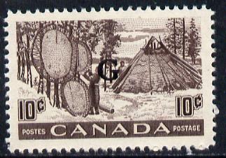 Canada 1950-51 10c Drying Furs overprinted 'G' SG O191