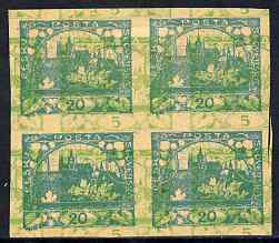 Czechoslovakia 1918 Hradcany 20h imperf proof block of 4 in turquoise doubly printed with 5h in green, on ungummed buff paper, as SG 5 & 7