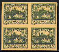 Czechoslovakia 1918 Hradcany 200h imperf proof block of 4 in blue doubly printed with 5h in green, on ungummed buff paper, as SG 5 & 13