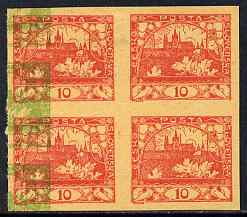 Czechoslovakia 1918 Hradcany 10h imperf proof block of 4 in red with additional impression of 5h (?) at side in green, on ungummed buff paper, as SG 5 & 6