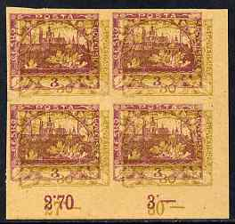 Czechoslovakia 1918 Hradcany 3h imperf proof block of 4 in purple doubly printed with 30h in olive, on ungummed buff paper, as SG 4 & 9