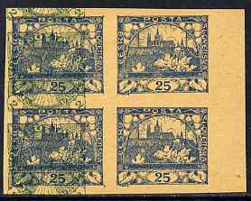 Czechoslovakia 1918 Hradcany 25h imperf proof block of 4 in blue doubly printed with Windhover 2h in green, on ungummed buff paper, as SG 8 & N24