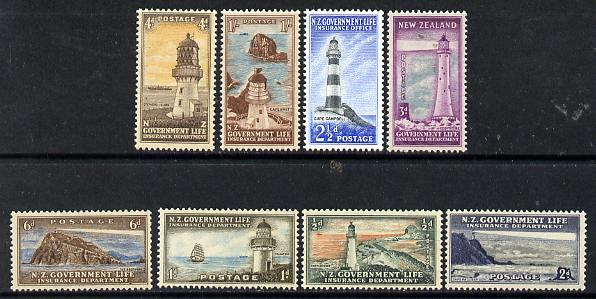 New Zealand 1947-65 Life Insurance (Lighthouses) set of 8 unmounted mint, SG L42-49