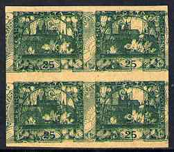 Czechoslovakia 1918 Hradcany 25h imperf proof block of 4 in blue doubly printed with Windhover 2h inverted in green, on ungummed buff paper, as SG 8 & N24