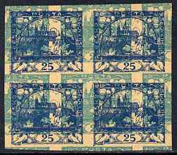 Czechoslovakia 1918 Hradcany 25h imperf proof block of 4 in blue doubly printed with 20h in turquoiae, on ungummed buff paper, as SG 7 & 8
