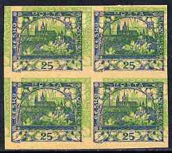 Czechoslovakia 1918 Hradcany 25h imperf proof block of 4 in blue doubly printed with 5h in green, on ungummed buff paper, as SG 5 & 17