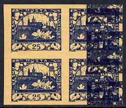 Czechoslovakia 1918 Hradcany 25h imperf proof block of 4 in blue doubly printed (second impression at side), on ungummed buff paper, as SG 17