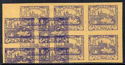 Czechoslovakia 1918 Hradcany 200h imperf proof block of 6 in blue doubly printed (second impression as block of 4), on ungummed buff paper, as SG 17
