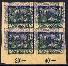 Czechoslovakia 1918 Hradcany 200h imperf proof block of 4 in blue doubly printed, one inverted plus additional impression of 5h in green, on ungummed buff paper, as SG 5 ...