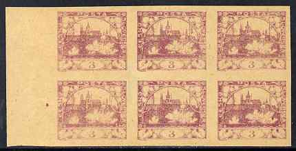 Czechoslovakia 1918 Hradcany 3h imperf proof block of 6 in purple on ungummed buff paper, as SG 4