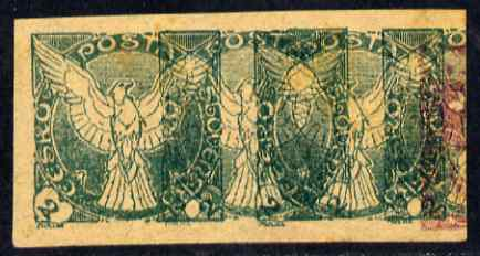 Czechoslovakia 1918 Windhover 2h imperf proof pair in green doubly printed, on ungummed buff paper, as SG N24